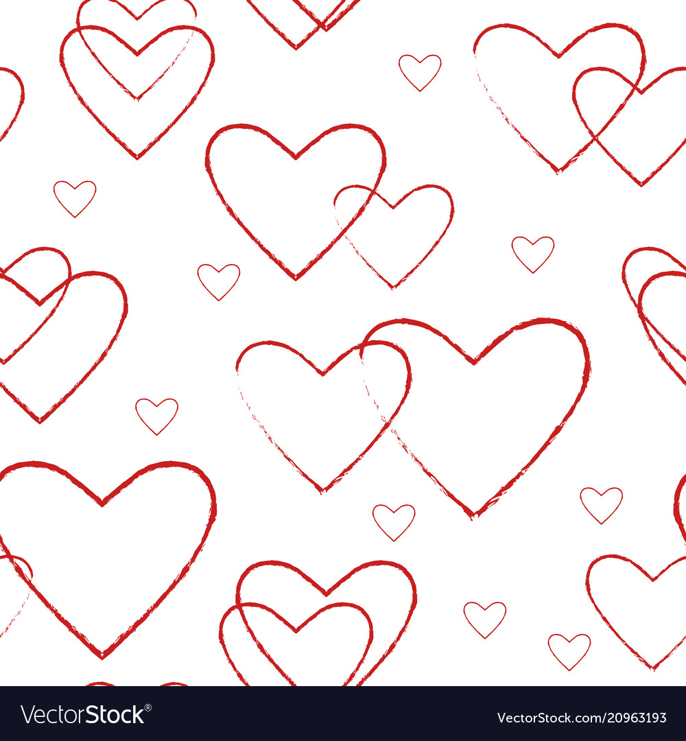 Simple seamless pattern with line red hearts