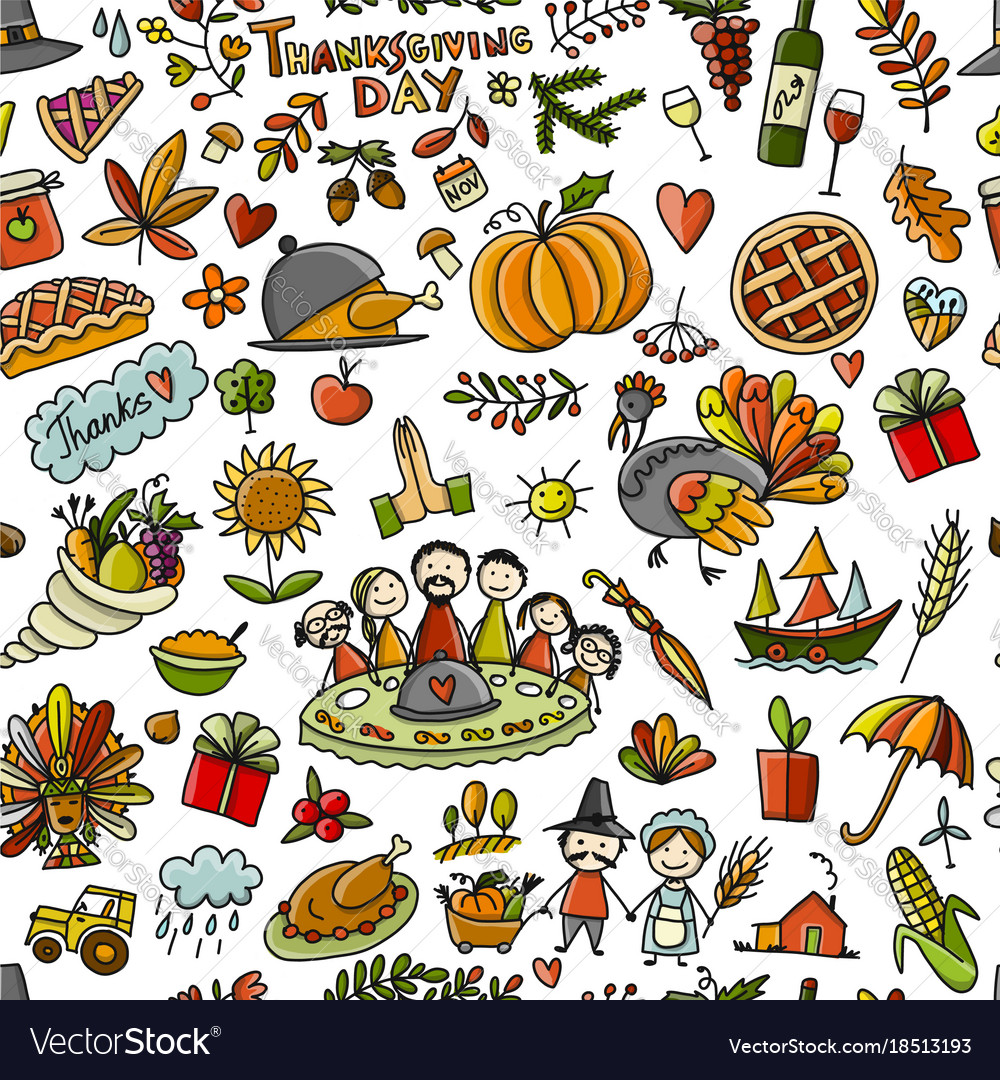 Thanksgiving day seamless pattern for your design