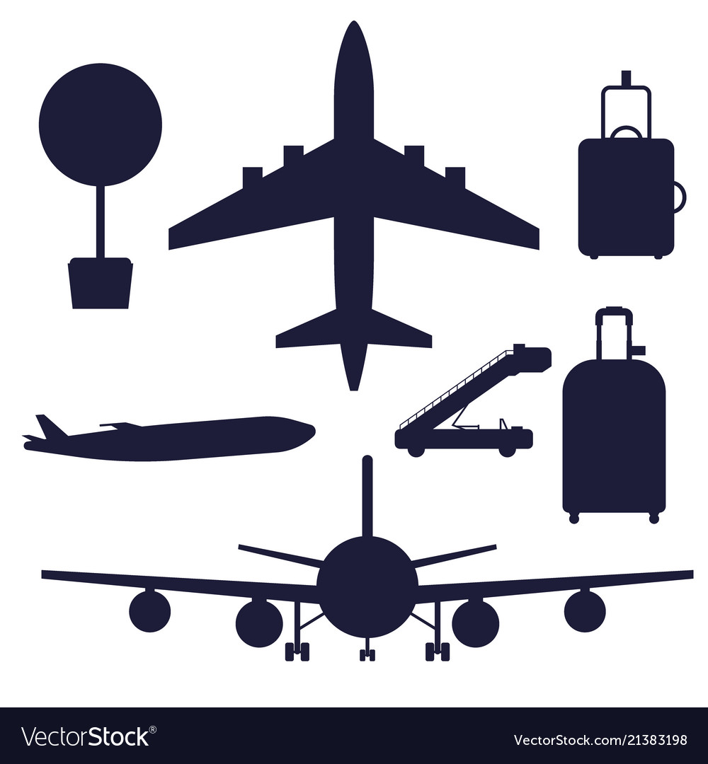Aviation icons silhouette airline graphic