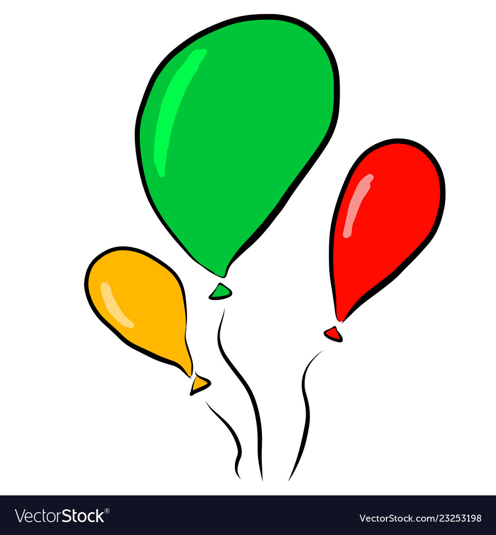 Balloons red green yellow on