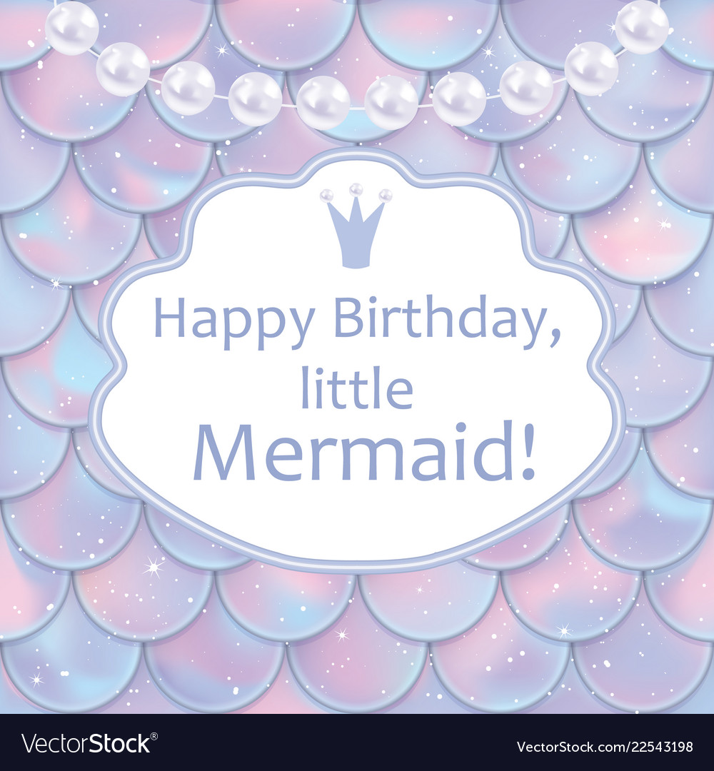Birthday card for little girl holographic fish or