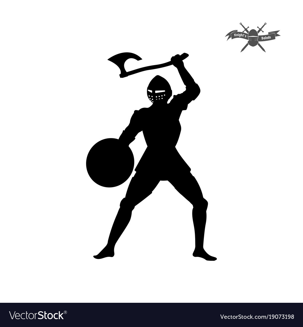 Black silhouette of knight with axe vector image