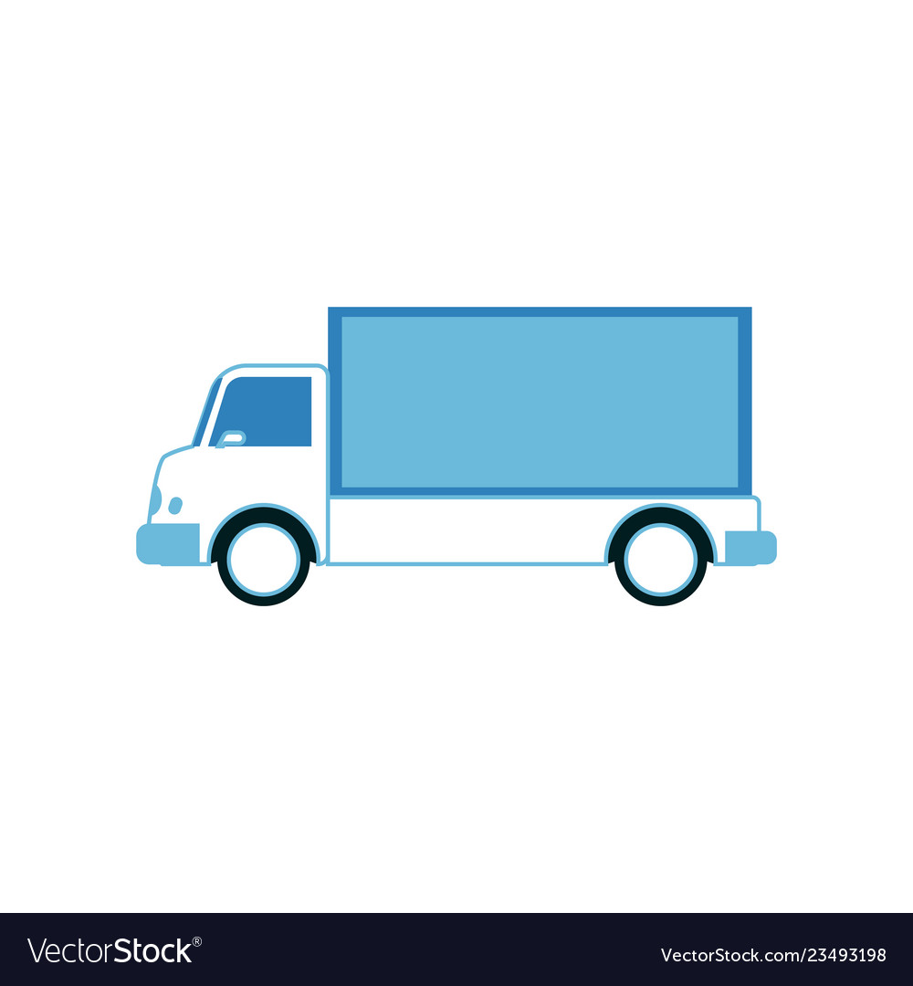 Cargo and shipping white truck with blue trailer