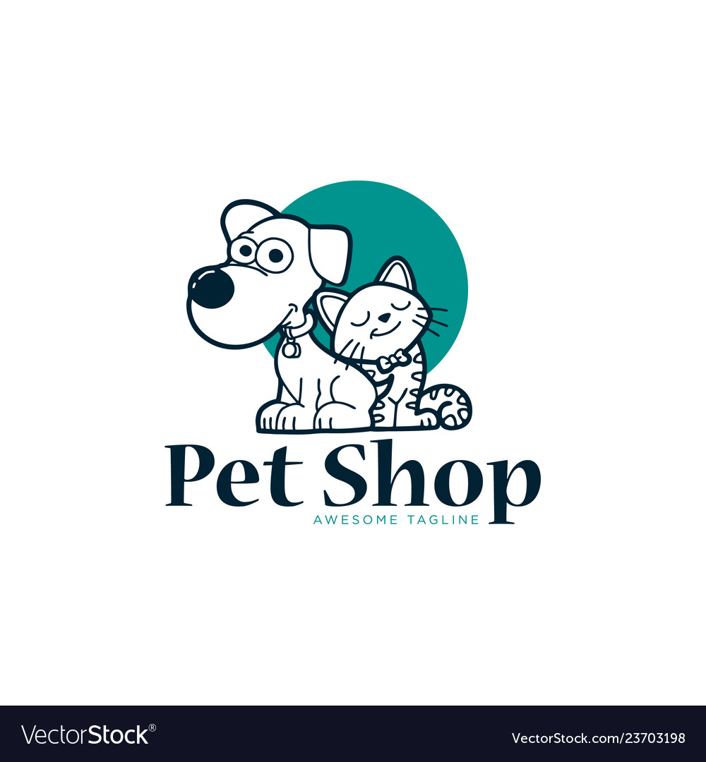 Cat and dog pet shop with blue circle shape