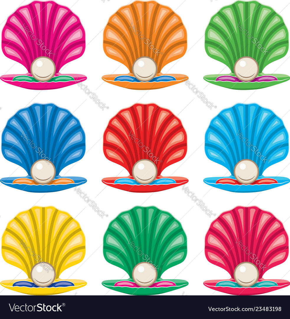 Colorful set of pearl in a shell icons