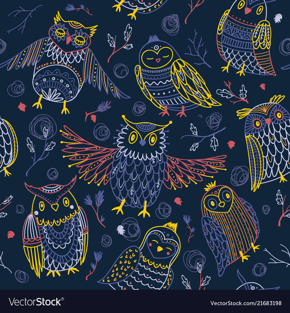 Cute owls seamless pattern in boho style vector