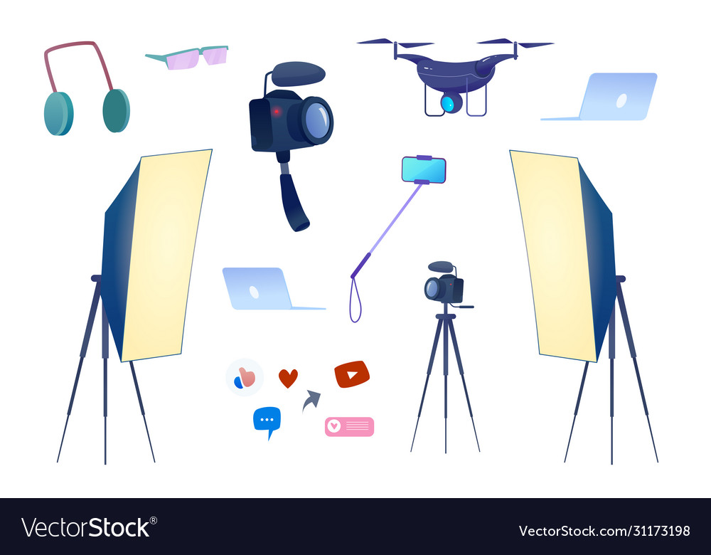 Flat video blogging equipment camera photo