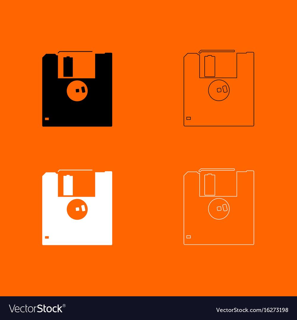 Floppy disk black and white set icon