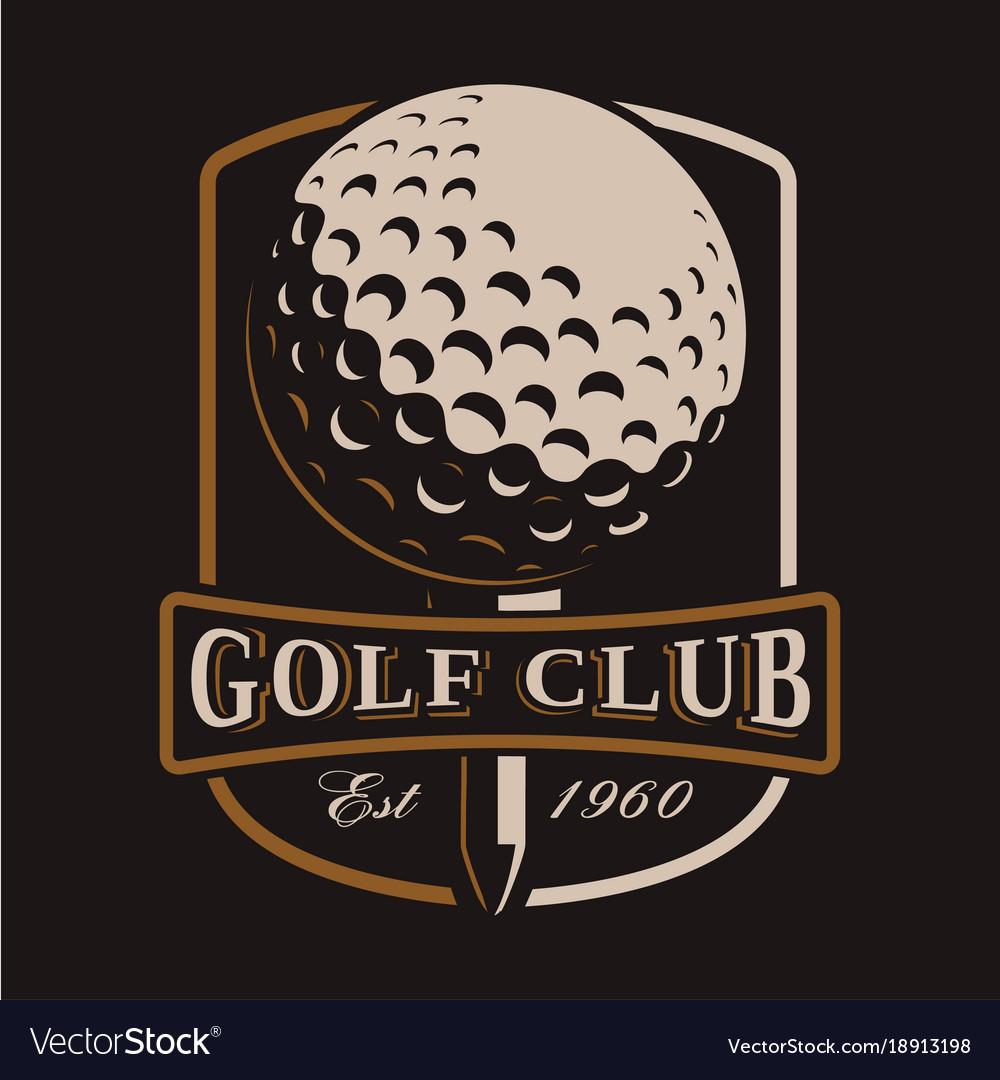 Golf ball logo on dark background