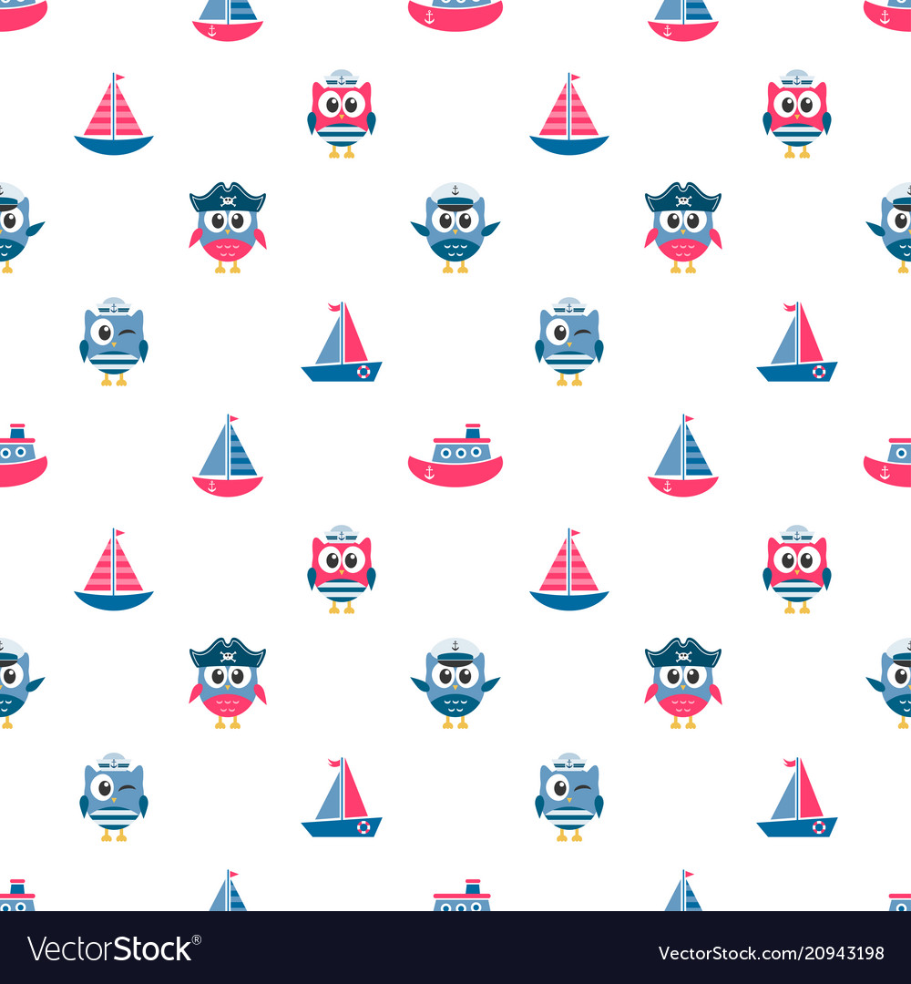 Pattern with owls sailors and boats