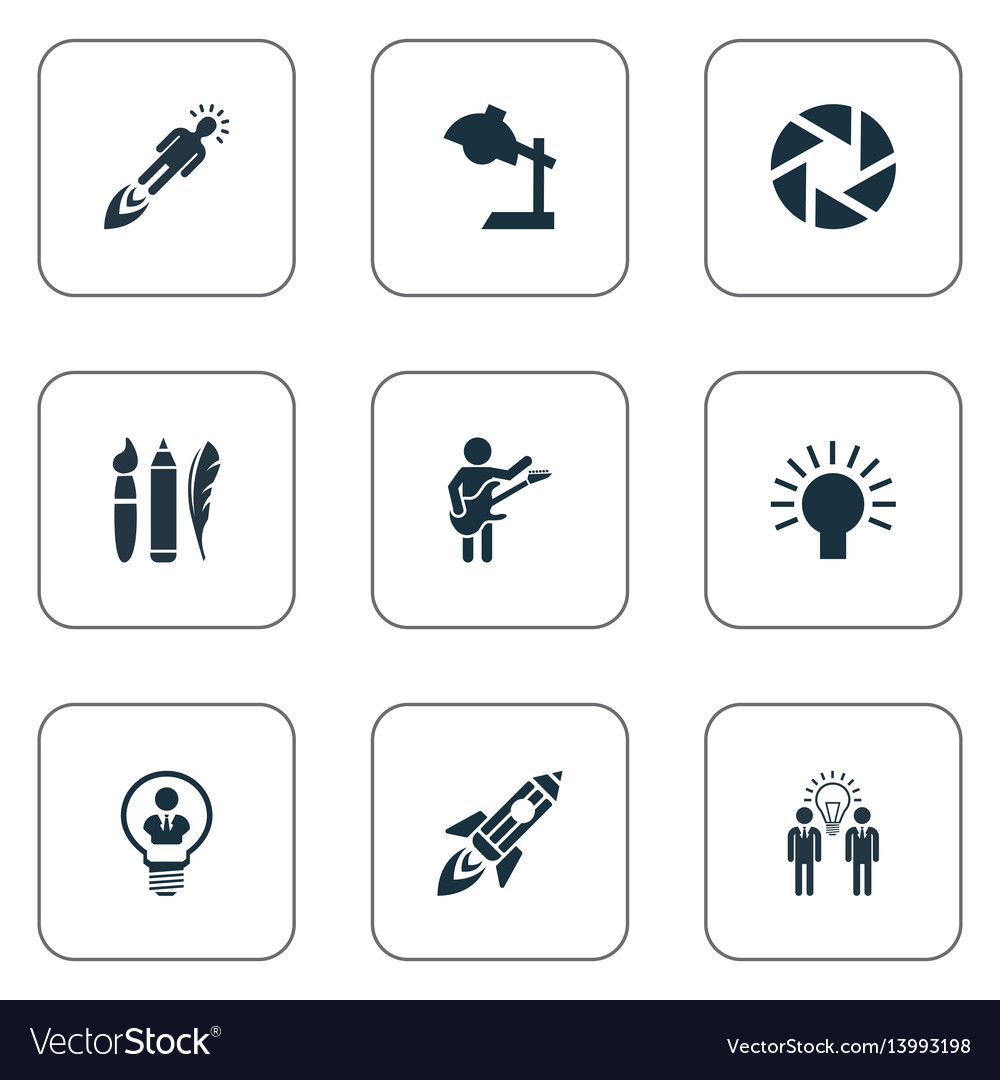 Set of simple visual art icons