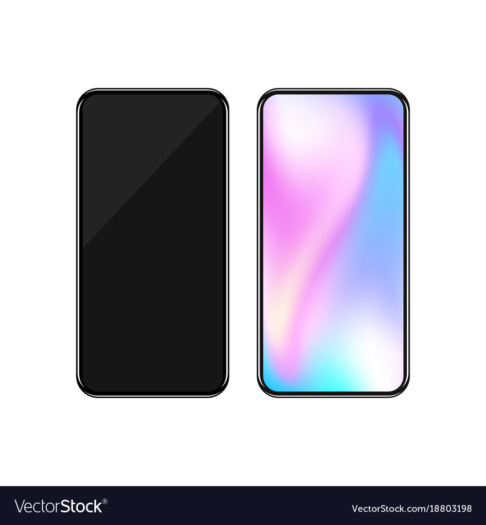 Smartphone with colorful screen and black screen