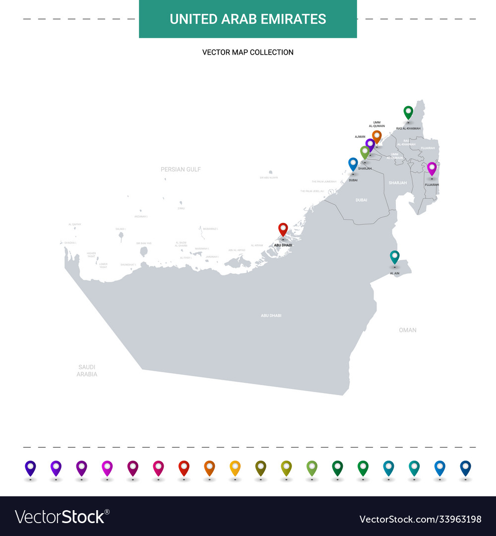 United arab emirates map with location pointer