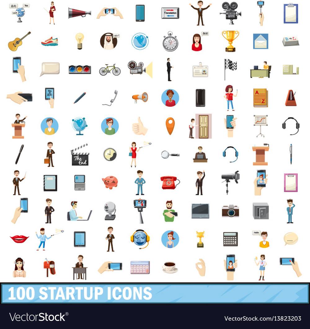 100 startup icons set cartoon style
