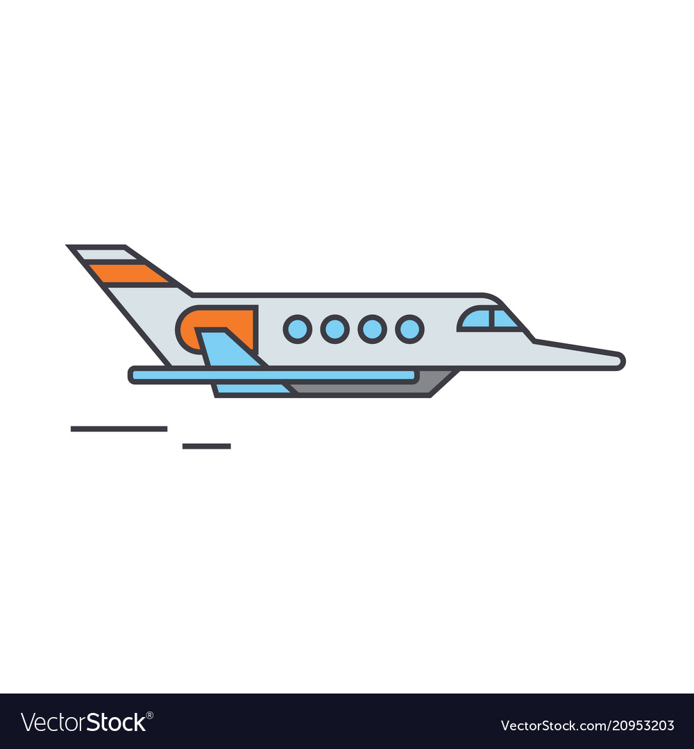 Aircraft line icon concept aircraft flat