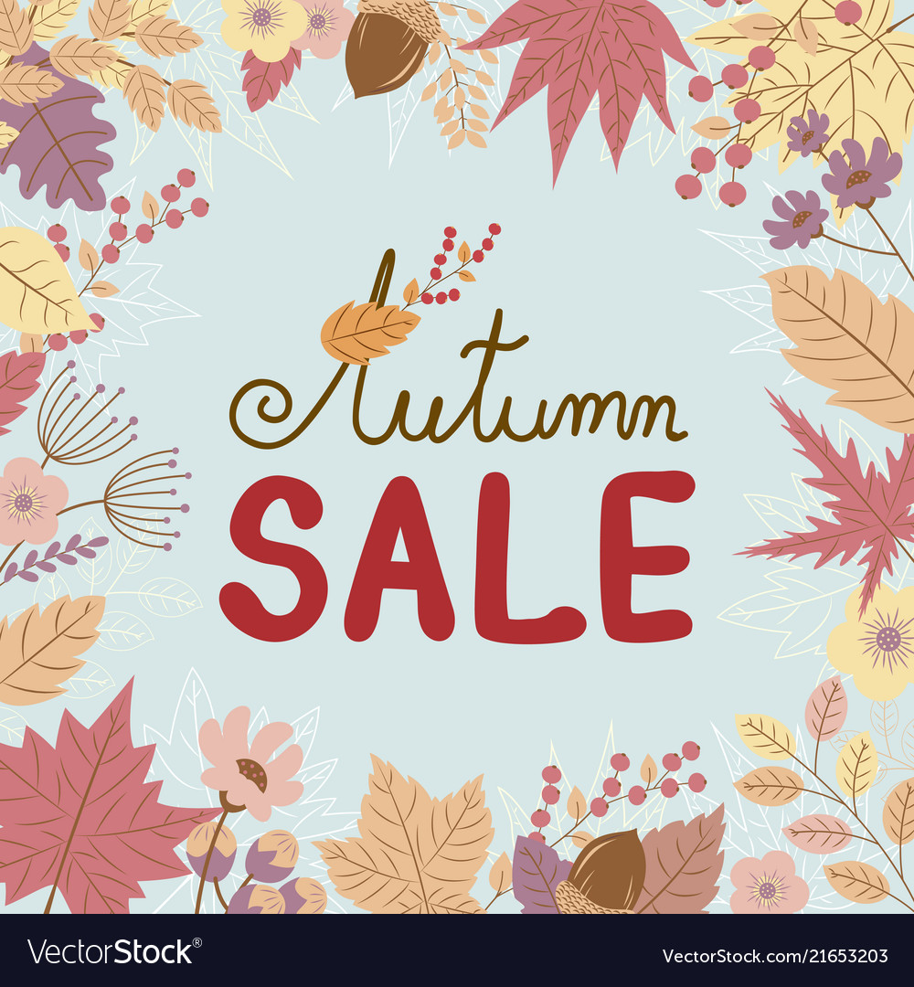 Autumn sale banner on leaves fall background