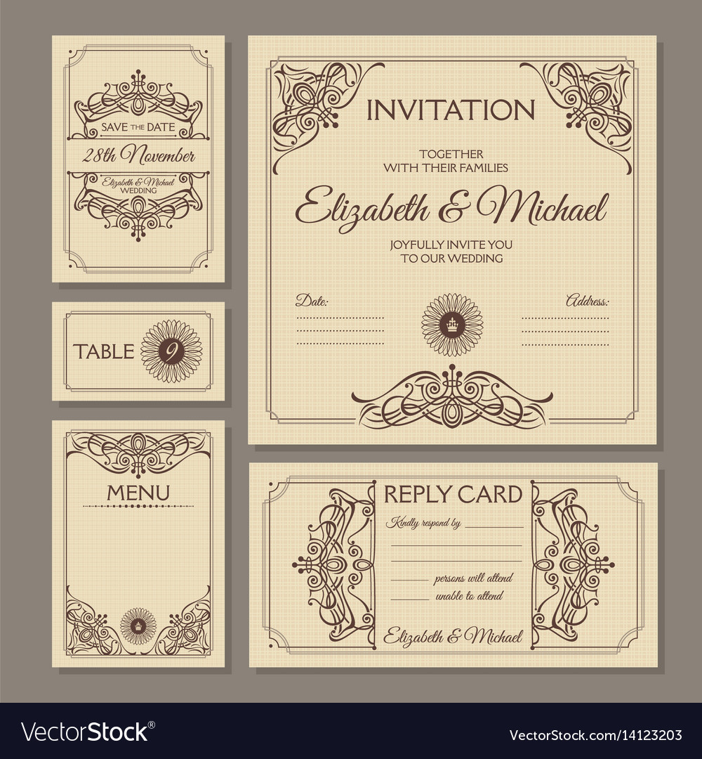 Calligraphic vintage floral wedding cards