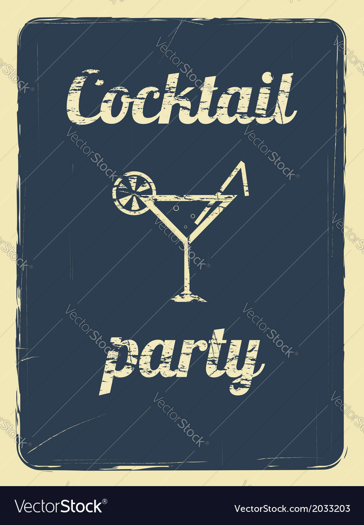Cocktail party retro poster blue