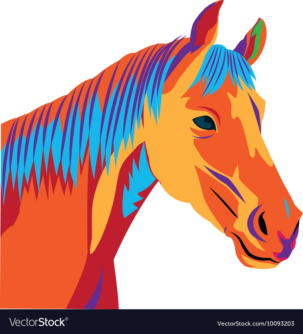 Colorful horse drawing icon vector image