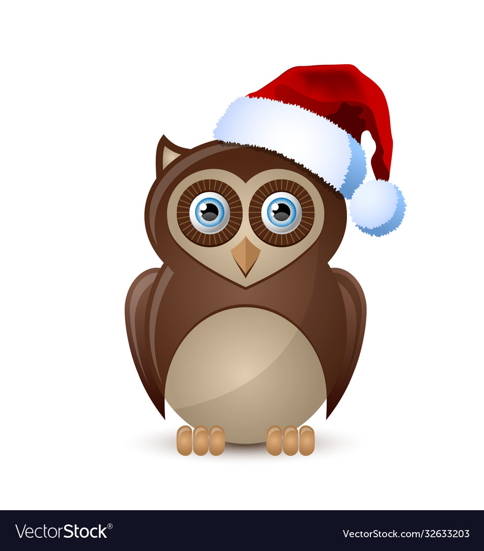 Cute and funny christmas owl character with santa