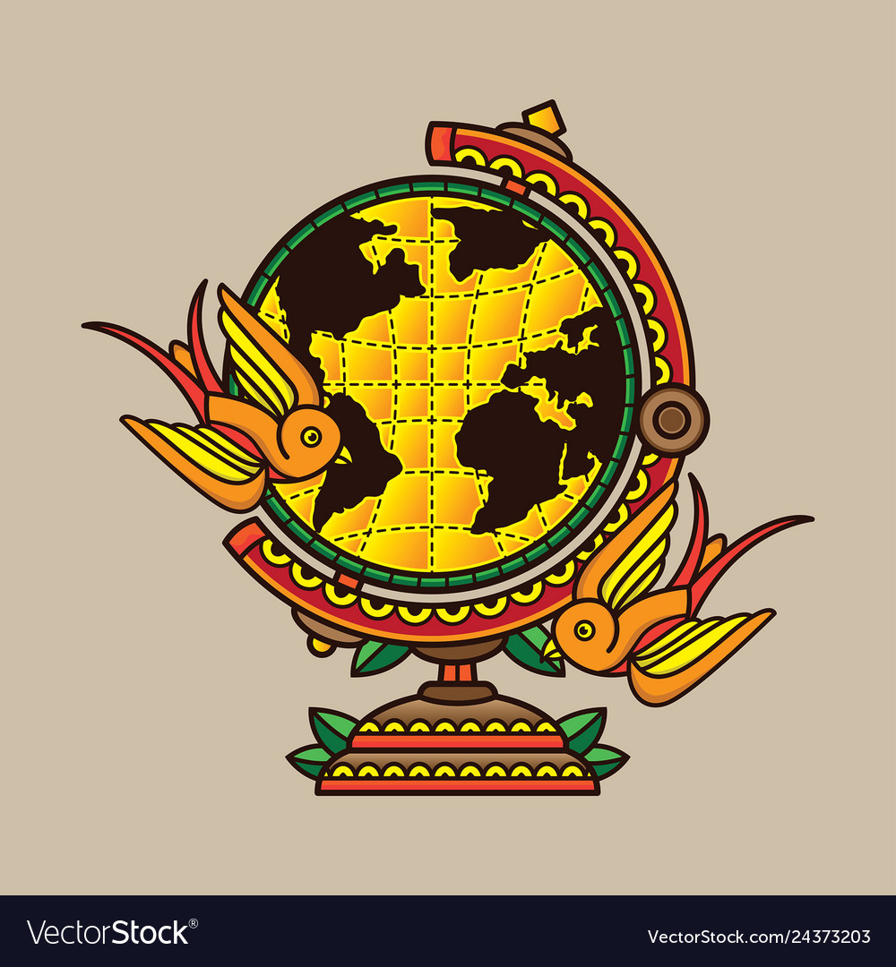Design traditional globe tattoo vector