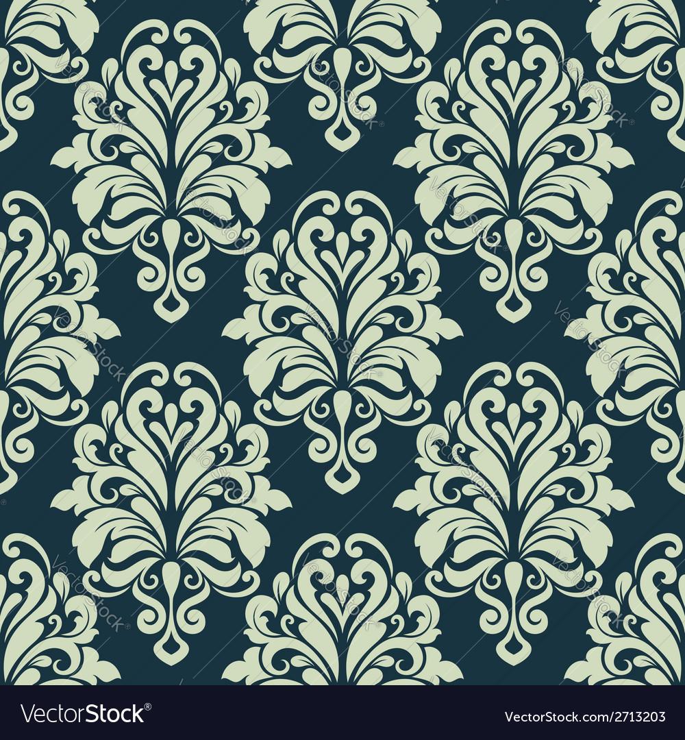 Green Retro Floral Arabesque Seamless Pattern Vector Image