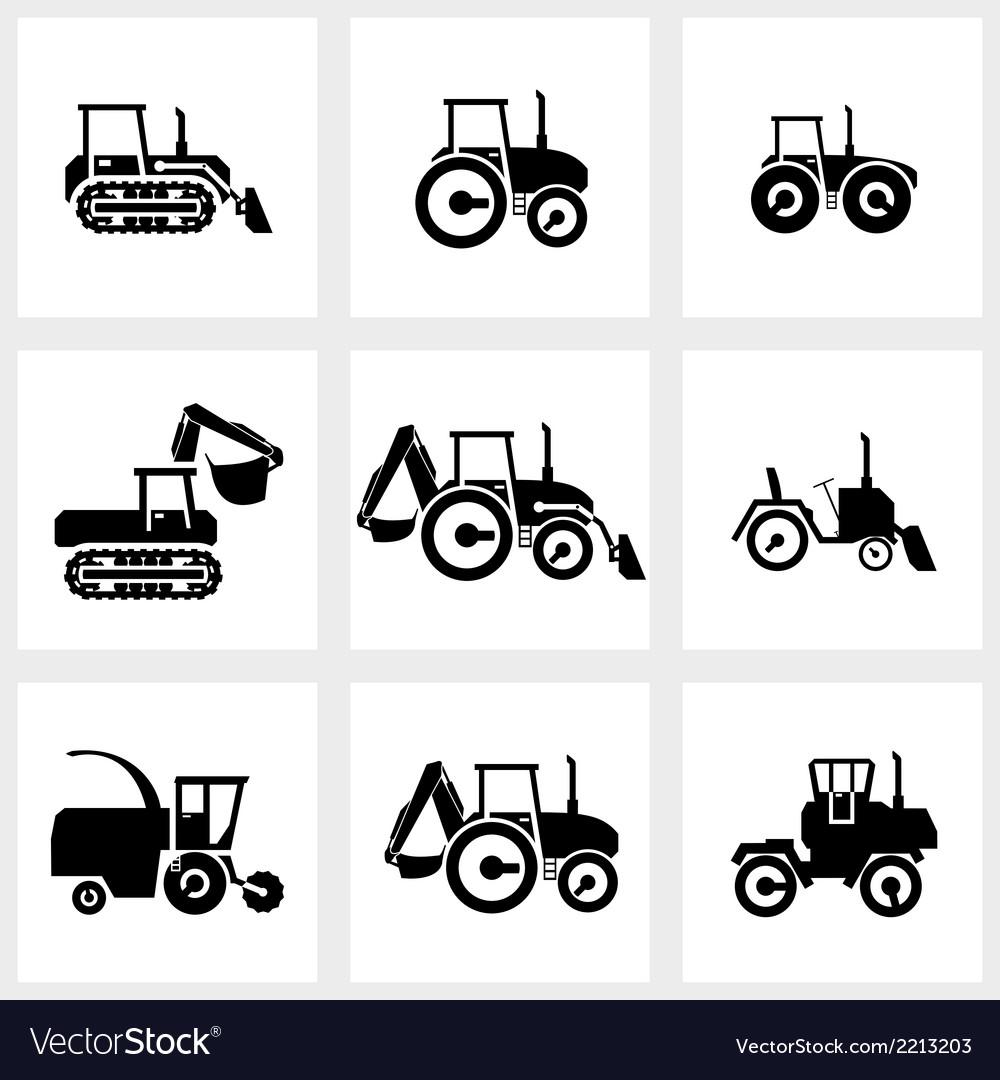 Icon set tractors and kombain vector image