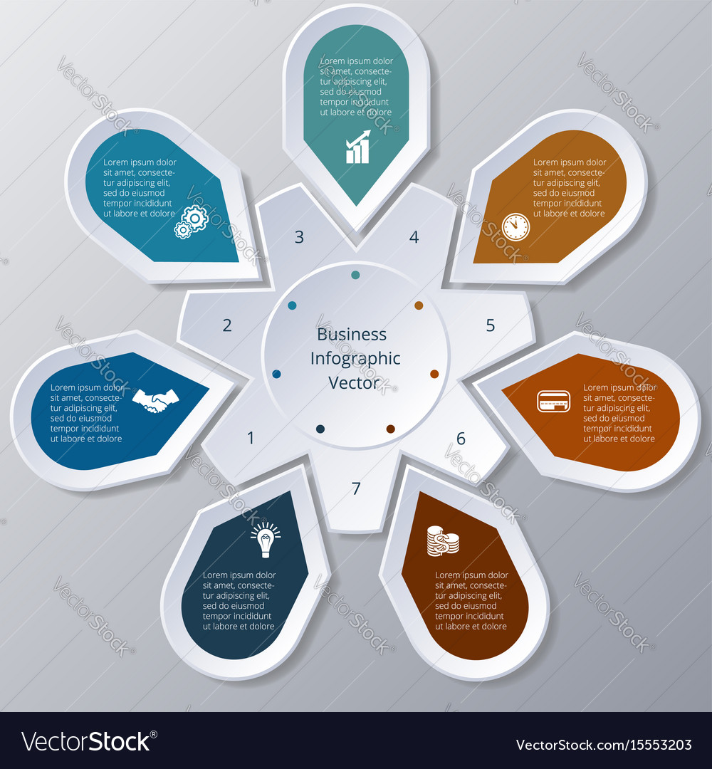 Infographic seven points arranged in circle gear vector image