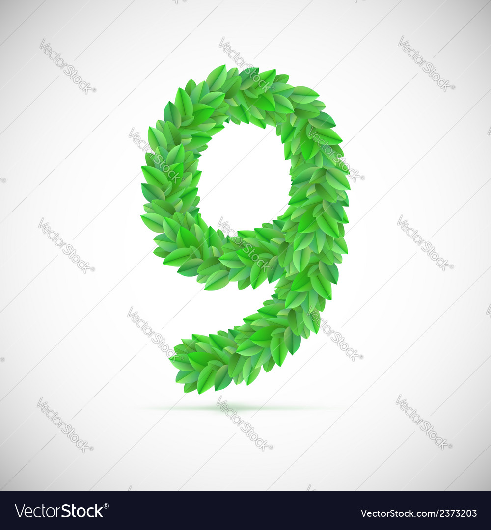 Number nine made up of green leaves vector image