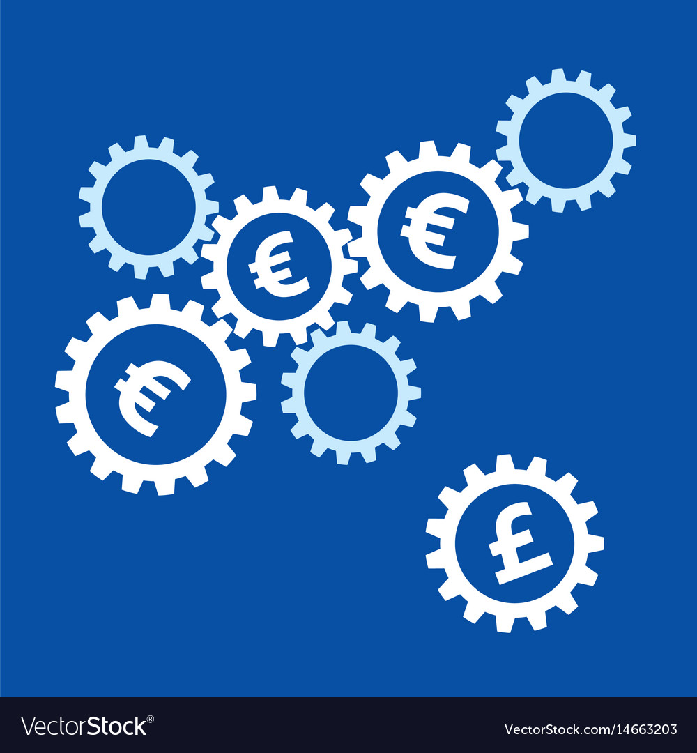 Rotating Gears With Euro Symbols Inside And Pound Vector Image