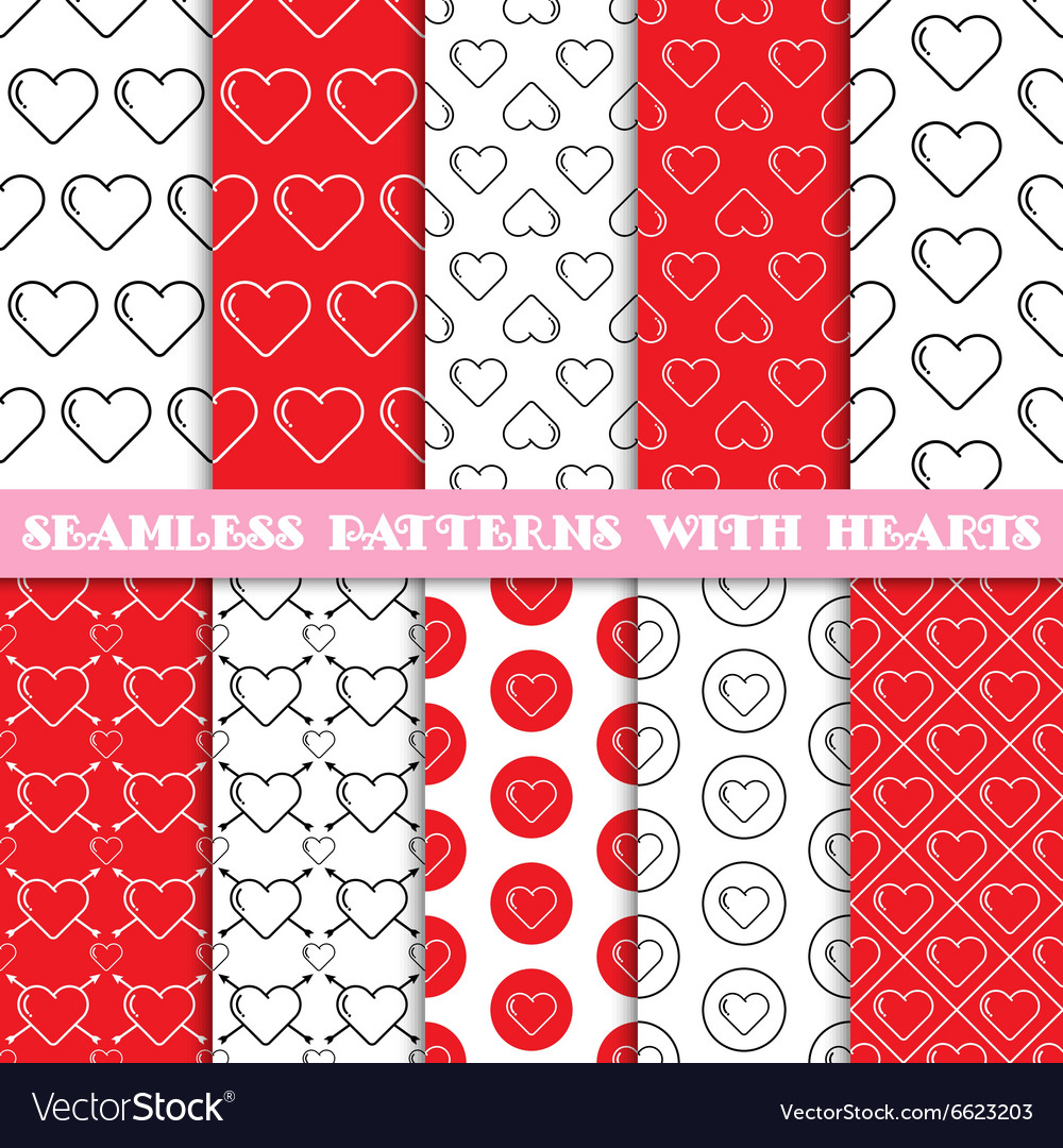 Seamless patterns with hearts
