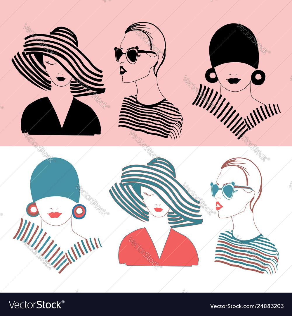 Set fashion girls in stylish looks