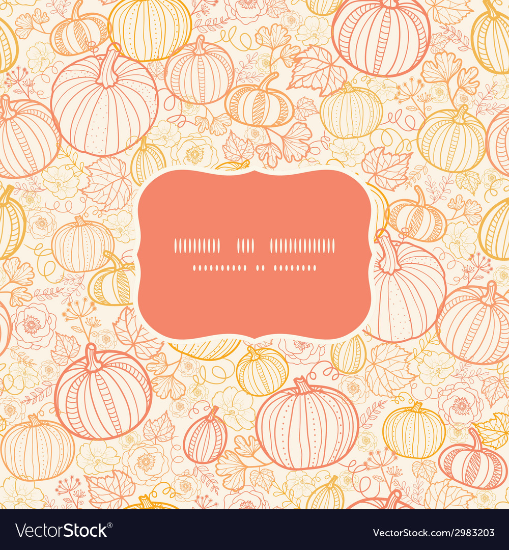 Thanksgiving line art pumkins frame seamless