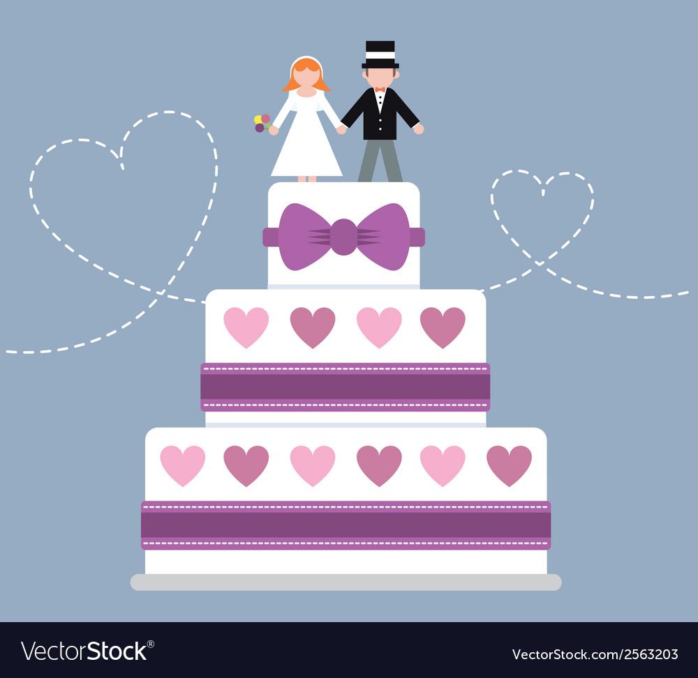 Wedding cake purple ribbon