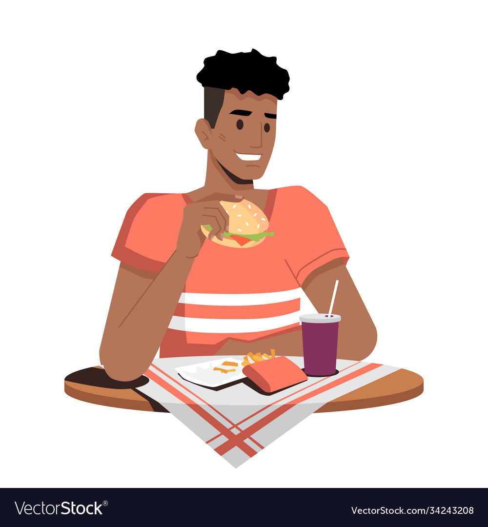 Afro-american guy eating hamburger fries and cola