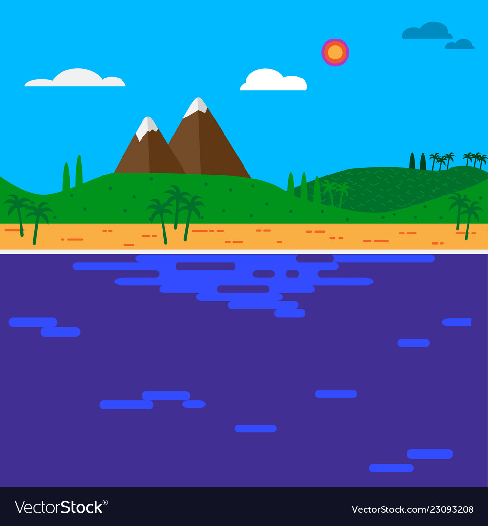 Cartoon island in the sea with mountains and hills