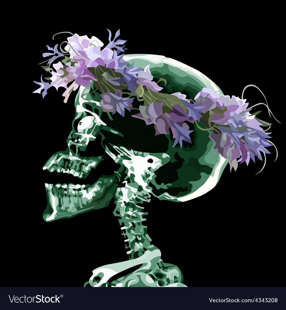 Cartoon skull wearing a crown of flowers