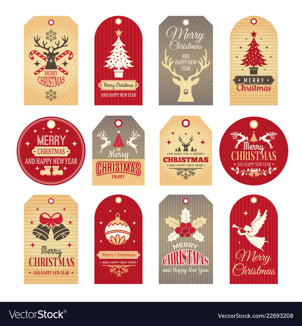 Christmas labels holiday tags and badges