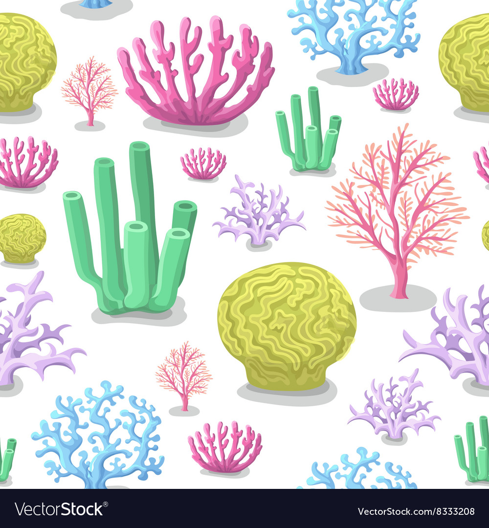 Corals seamless pattern life marine colorful