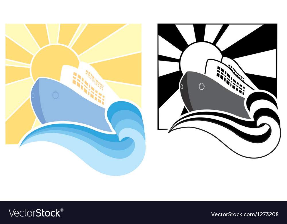 Cruise ship icons vector image