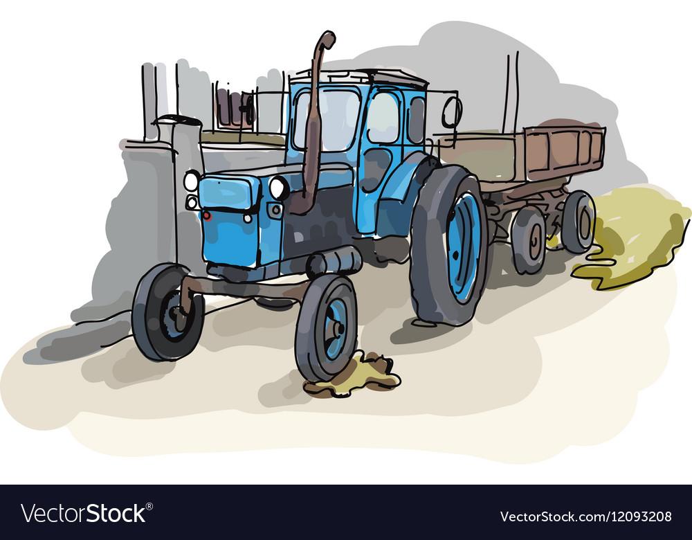 Digital painted old belarus tractor
