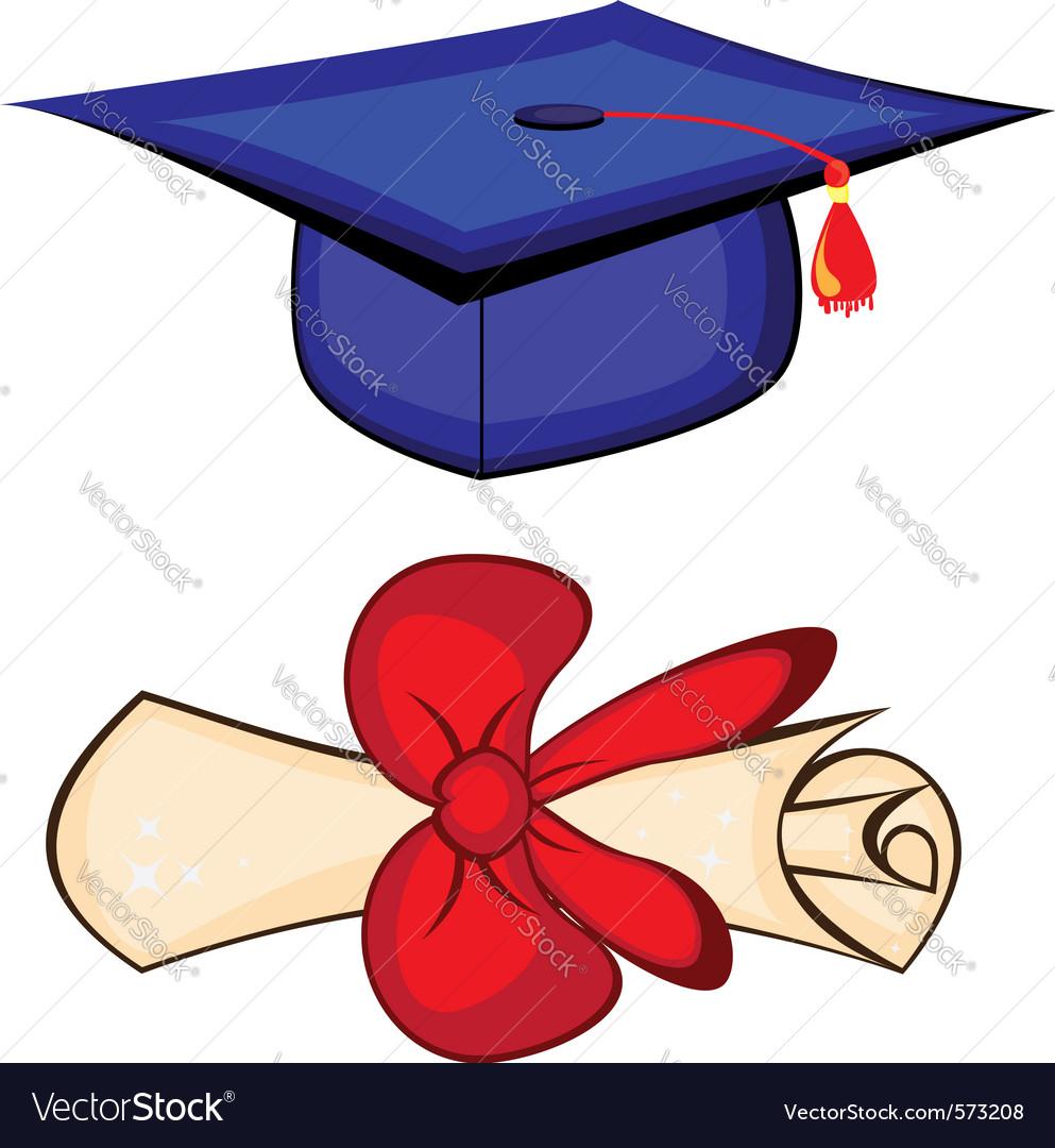 diploma and graduation cap royalty free vector image rh vectorstock com Transparent Graduation Cap Transparent Graduation Cap