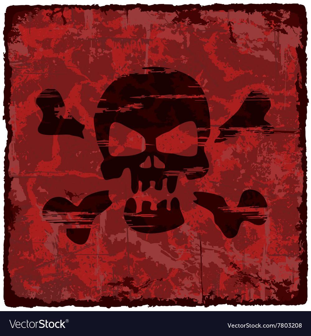 Grunge vintage background with skull