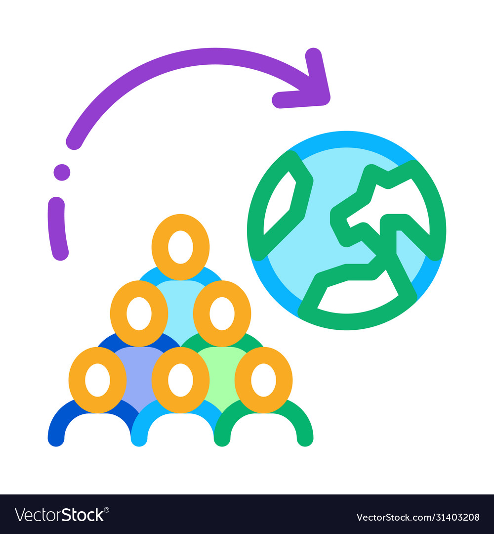 Moving people around planet icon outline