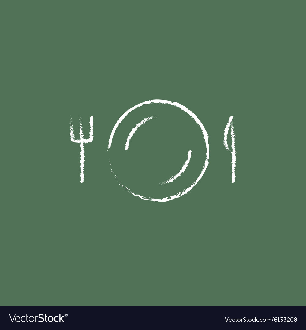 Plate with cutlery icon drawn in chalk vector image