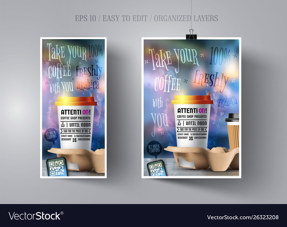 Poster and flyer template for coffee shop