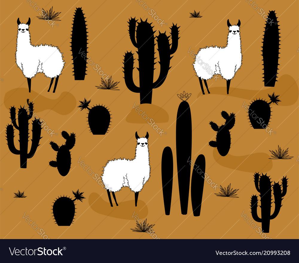 Set of alpaca and cactus elements vector image