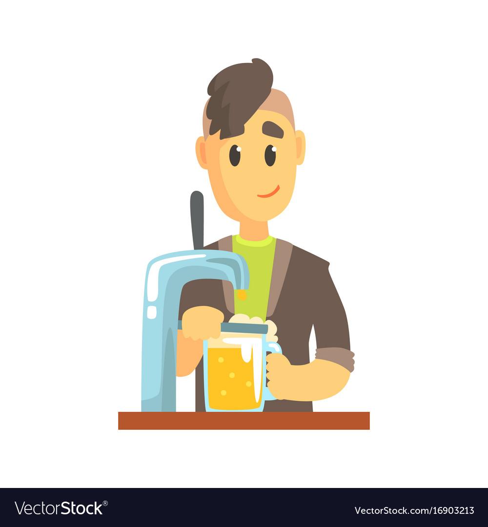 Bartender man character standing at the bar