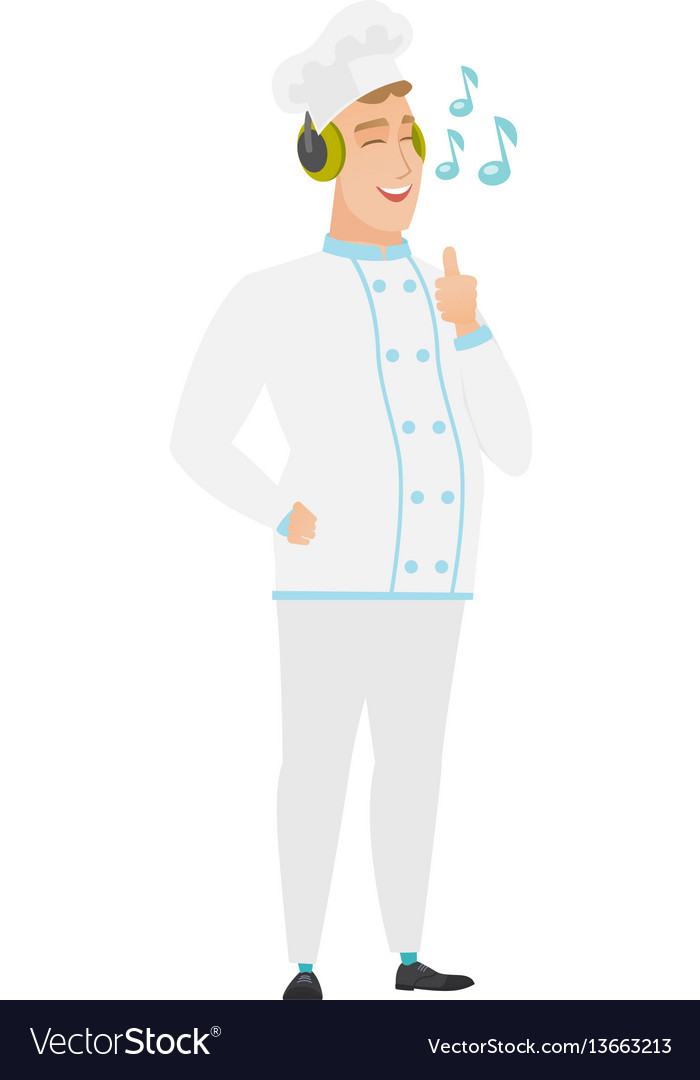 Chef cook listening to music in headphones vector image