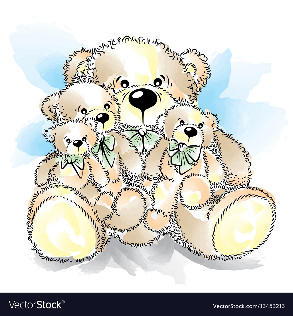 Drawing teddy bears with bow